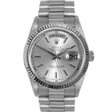 Rolex Mens White Gold Day Date President - Silver Stick Dial & Fluted Bezel Single Quickset 18039 Model