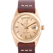 Rolex Mens 18K Yellow Gold Day Date - Champagne Linen Stick Dial Fluted Bezel with Brown Leather Strap Model 1803