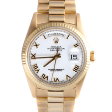 Rolex Mens Yellow Gold Day Date President - White Roman Dial & Fluted Bezel Double Quickset 90S Model