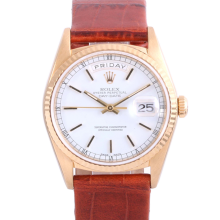 Pre Owned Rolex Mens 18K Yellow Gold Day Date - White Stick Dial Fluted Bezel with Leather Strap Model 18238