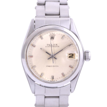 Original Rolex Stainless Steel Midsize Oysterdate - with Silver Stick Precision Dial & Smooth Bezel On an Oyster Band - Non-Quickset Model