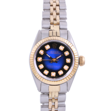 Rolex Ladies Two Tone Oyster Perpetual No Date - With A Custom Blue Vignette Diamond Dial and Fluted Bezel - Jubilee Band