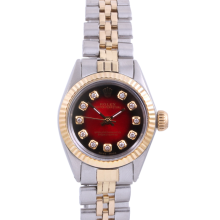 Rolex Ladies Two Tone Oyster Perpetual No Date - With A Custom Red Vignette Diamond Dial and Fluted Bezel - Jubilee Band