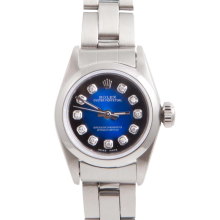 Rolex Ladies Oyster Perpetual No Date Stainless Steel - Custom Blue Vignette Diamond Dial And Smooth Bezel On An Oyster Band