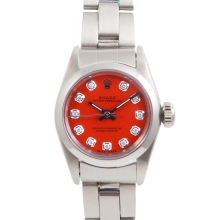 Rolex Ladies Oyster Perpetual No Date Stainless Steel - Custom Orange Diamond Dial And Smooth Bezel On An Oyster Band