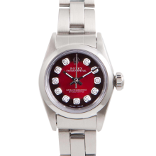 Rolex Ladies Oyster Perpetual No Date Stainless Steel - Custom Red Vignette Diamond Dial And Smooth Bezel On An Oyster Band