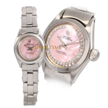 Rolex Ladies Stainless Steel Oyster Perpetual - Custom Pink Mother of Pearl Outer String Diamond Dial - Engine Turn Bezel