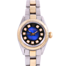 Rolex Ladies Two Tone Oyster Perpetual No Date - With A Custom Blue Vignette Diamond Dial and Fluted Bezel - Oyster Band