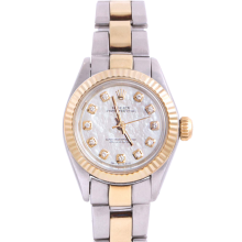 Rolex Ladies Two Tone Oyster Perpetual No Date - With A Custom Mother of Pearl Diamond Dial and Fluted Bezel - Oyster Band