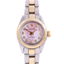Rolex Ladies Two Tone Oyster Perpetual No Date - With A Custom Pink Mother of Pearl Diamond Dial and Fluted Bezel - Oyster Band