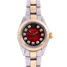Rolex Ladies Two Tone Oyster Perpetual No Date - With A Custom Red Vignette Diamond Dial and Fluted Bezel - Oyster Band