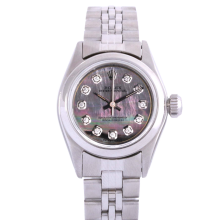 Rolex Ladies Oyster Perpetual No Date Stainless Steel - Custom Tahitian Mother of Pearl Diamond Dial And Smooth Bezel On A Jubilee Band