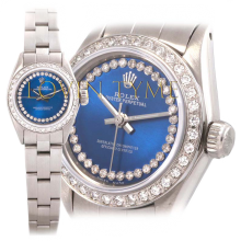 Rolex Ladies Stainless Steel Oyster Perpetual - Custom Cobalt Blue Outer String Diamond Dial - Diamond Bezel