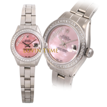 Rolex Ladies Oyster Perpetual Stainless Steel - Custom Pink Mother of Pearl Gift Wrap Diamond Dial - Diamond Bezel - Oyster Folded Band