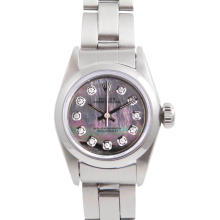 Rolex Ladies Oyster Perpetual No Date Stainless Steel - Custom Tahitian Mother of Pearl Diamond Dial And Smooth Bezel On An Oyster Band