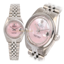 Rolex Midsize Stainless Steel Datejust - Custom Pink Mother of Pearl Outer String Diamond Dial - Smooth Bezel