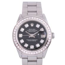 Rolex Stainless Steel Midsize Datejust - with Custom Black Diamond Dial & Diamond Bezel On an Oyster Band - Non-Quickset Model