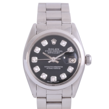 Rolex Stainless Steel Midsize Datejust - with Custom Black Diamond Dial & Smooth Bezel On an Oyster Band - Non-Quickset Model