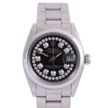 Rolex Stainless Steel Midsize Datejust - with Custom Black String Diamond Dial & Smooth Bezel On an Oyster Band - Non-Quickset Model