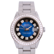 Rolex Stainless Steel Midsize Datejust - with Custom Blue Vignette Diamond Dial & Diamond Bezel On an Oyster Band - Non-Quickset Model