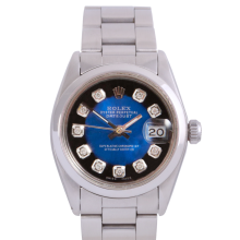 Rolex Stainless Steel Midsize Datejust - with Custom Blue Vignette Diamond Dial & Smooth Bezel On an Oyster Band - Non-Quickset Model