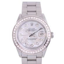 Rolex Stainless Steel Midsize Datejust - with Custom Mother of Pearl Diamond Dial & Diamond Bezel On an Oyster Band - Non-Quickset Model