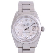 Rolex Stainless Steel Midsize Datejust - with Custom Mother of Pearl Diamond Dial & Smooth Bezel On an Oyster Band - Non-Quickset Model