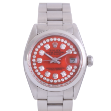 Rolex Stainless Steel Midsize Datejust - with Custom Orange String Diamond Dial & Smooth Bezel On an Oyster Band - Non-Quickset Model