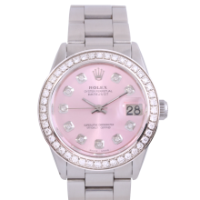 Rolex Stainless Steel Midsize Datejust - with Custom Pink Diamond Dial & Diamond Bezel On an Oyster Band - Non-Quickset Model