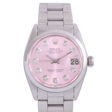 Rolex Stainless Steel Midsize Datejust - with Custom Pink Diamond Dial & Smooth Bezel On an Oyster Band - Non-Quickset Model