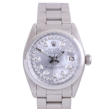 Rolex Stainless Steel Midsize Datejust - with Custom Silver String Diamond Dial & Smooth Bezel On an Oyster Band - Non-Quickset Model