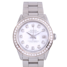 Rolex Stainless Steel Midsize Datejust - with Custom White Diamond Dial & Diamond Bezel On an Oyster Band - Non-Quickset Model