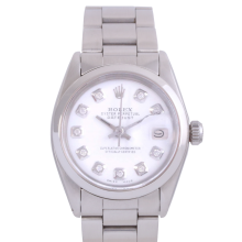 Rolex Stainless Steel Midsize Datejust - with Custom White Diamond Dial & Smooth Bezel On an Oyster Band - Non-Quickset Model