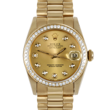 Rolex Yellow Gold President - with Custom Champagne Diamond Dial - Diamond Bezel