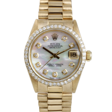 Rolex Yellow Gold President - with Custom Mother Of Pearl Diamond Dial - Diamond Bezel