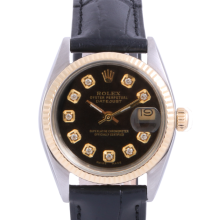 Pre-Owned Rolex Two Tone Midsize Datejust - Black Diamond Dial & Fluted Bezel On A Leather Band Non-Quickset Model