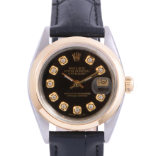Pre-Owned Rolex Two Tone Midsize Datejust - Black Diamond Dial & Smooth Bezel On A Leather Band Non-Quickset Model
