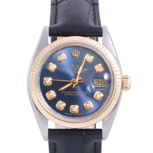 Pre-Owned Rolex Two Tone Midsize Datejust - Blue Diamond Dial & Fluted Bezel On A Leather Band Non-Quickset Model
