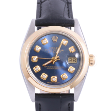 Pre-Owned Rolex Two Tone Midsize Datejust - Blue Diamond Dial & Smooth Bezel On A Leather Band Non-Quickset Model