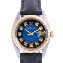 Pre-Owned Rolex Two Tone Midsize Datejust - Blue Vignette Diamond Dial & Fluted Bezel On A Leather Band Non-Quickset Model