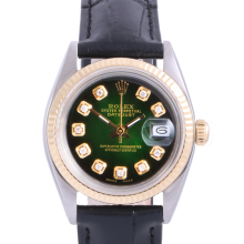 Pre-Owned Rolex Two Tone Midsize Datejust - Green Vignette Diamond Dial & Fluted Bezel On A Leather Band Non-Quickset Model