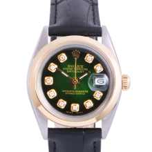 Pre-Owned Rolex Two Tone Midsize Datejust - Green Vignette Diamond Dial & Smooth Bezel On A Leather Band Non-Quickset Model