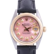 Pre-Owned Rolex Two Tone Midsize Datejust - Pink Diamond Dial & Fluted Bezel On A Leather Band Non-Quickset Model