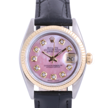 Pre-Owned Rolex Two Tone Midsize Datejust - Pink Mother of Pearl Diamond Dial & Fluted Bezel On A Leather Band Non-Quickset Model