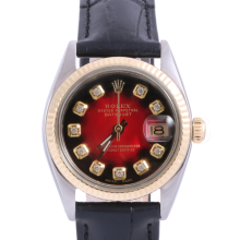 Pre-Owned Rolex Two Tone Midsize Datejust - Red Vignette Diamond Dial & Fluted Bezel On A Leather Band Non-Quickset Model