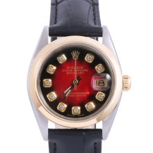 Pre-Owned Rolex Two Tone Midsize Datejust - Red Vignette Diamond Dial & Smooth Bezel On A Leather Band Non-Quickset Model