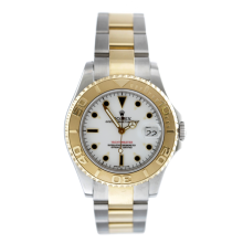 Rolex 18K/SS Two Tone Yacht-Master - White Dial - 60 Minute Yellow Gold Rotating Bezel - Oyster Bracelet 35 MM 68623