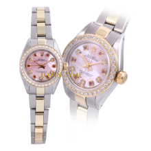 Rolex Ladies Two Tone Oyster Perpetual No Date - With A Custom Pink Mother of Pearl Dial with Alternating Rubies and Diamonds - Diamond Bezel - Oyster Band