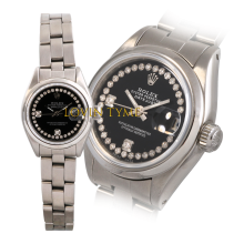 Rolex Ladies Stainless Steel Datejust - Custom Black Outer String 2 Stone Diamond Dial - Smooth Bezel