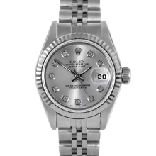Rolex Ladies Datejust - Stainless Steel with Custom Silver Diamond Dial & Fluted Bezel On A Jubilee Band 6917 Model